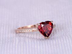 Garnet Engagement ring14k Rose gold8mm Heart Shaped by milegem