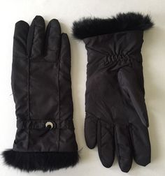 Ladies Weatherproof Black Nylon Gloves Sz Med   eBay