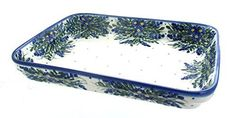 Polish Pottery Hyacinth Large Rectangular Baker