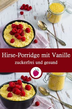 Hirse-Porridge mit Vanille Millet porridge with vanilla – creamy delicious breakfast # sugar-free Sin Gluten, Gluten Free, Breakfast Hotel, Crunches, Eating Plans, Food Items, Smoothie Recipes, Protein Smoothies, Ayurveda