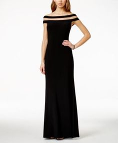Betsy & Adam Off-the-Shoulder Illusion Gown - Dresses - Women - Macy's