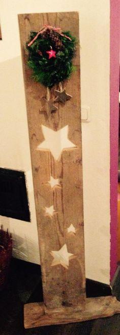 Treibholz Girlande Schwemmholz Shabby 2 Sterne blau Holz Fenster Landhaus 118cm