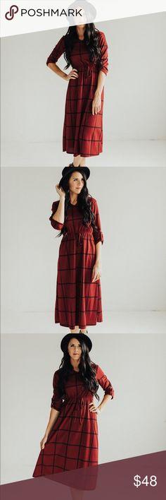 3/4 Sleeve Plaid Midi Dress with Elastic Waist Beautiful burgundy dress for your fall wardrobe! 74% polyester 22% Rayon 4% Spandex. I am 5'9 wearing a size small. Small (0-4) Medium (4-8) Large (8-12) Dresses Midi