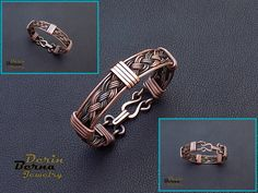 Free Shipping Mens copper cuff bracelet,Copper Wire Mens Bracelets,Wire Wrapped…