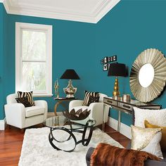 Sleek lines and metallic finishes with a statement surrounding it you can't ignore. Living Room Turquoise, Trending Paint Colors, Living Area, Living Rooms, Classic Interior, Color Trends, Art Deco, Colours, Traditional