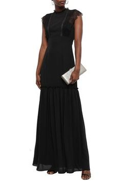 Shop on-sale Lace-trimmed gathered crepe de chine gown. Browse other discount designer Gowns & more luxury fashion pieces at THE OUTNET Designer Gowns, Occasion Wear, Jacket Dress, Lace Trim, Dress Outfits, Knitwear, Luxury Fashion, Short Sleeve Dresses, Clothes For Women