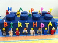 Lego brick birthday cake