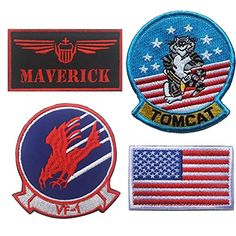 Maverick, Brave Witches Logo VF-1, Tom Cat, American US Flag Embroidered Patch Military Tactical Morale Fastener Hook Loop Backing Patches Cosplay Costume Appliques Badges 4PCS - boutiquecloset.co...  <div data-carousel-extra=\'{\