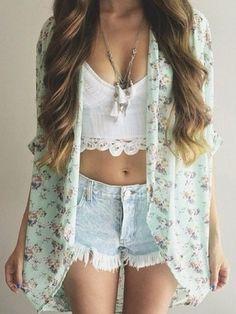 #summer #outfits / pastel flower print cardigan + crochet crop top