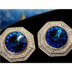 ST JOHN Designer Earrings Clip On Sapphire Blue Rivoli Headlight and Pave Crystals Vintage 1980s Runway Worthy Wedding Bride Bridal Prom ($99) found on Polyvore featuring women's fashion, jewelry and earrings