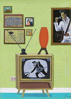 Mid Century Modern Eames Retro Limited Edition Print from Original Painting Velvet Elvis Mid Century Modern Art, Mid Century Art, Mid Century Decor, Retro Art, Vintage Art, Vintage Space, Vintage Posters, Guache, Modern Cross Stitch Patterns