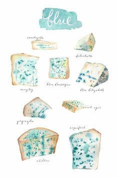blue cheese watercolors prints by Margaux Bucher