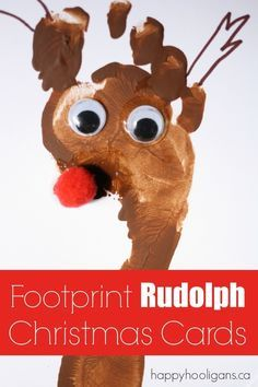 Footprint Rudolph Christmas Cards - Happy Hooligans