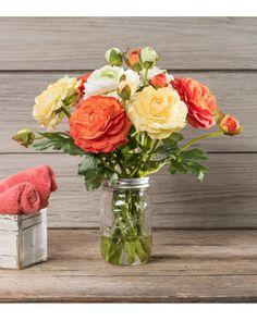 Mixed Ranunculus<br>Silk Flower Arrangement