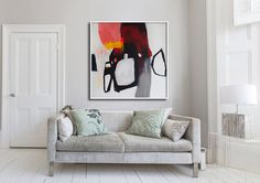 """GICLÉE Print de la peinture abstraite, art abstrait, blanc, noir, rose, moderne """"hors de sa boucle vii"""""""