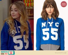 "Maya's blue studded ""NYC 55″ hoodie on Girl Meets World.  Outfit Details: http://wornontv.net/35424/ #GirlMeetsWorld"
