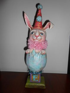 "EASTER EGG RABBIT, 13.5"" tall.  2013 Original Debra Schoch piece.  Paper Clay Material."