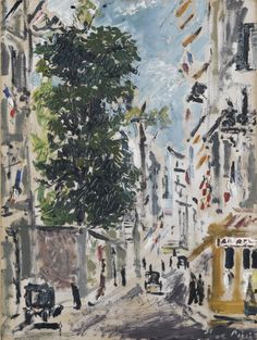Filippo De Pisis (Italian, 1896-1956), Rue Cassette, Parigi [Rue Cassette, Paris], 1931. Oil on card laid down on canvas, 67.8 x 51 cm. Italian Paintings, Italian Art, Art History, Fine Art, Canvas, Cassette, Painters, Artists, Impressionist Paintings