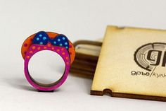 Wooden Dotty Ribbon Ring Stacking Rings Cute Ribbon for by WoodsyS