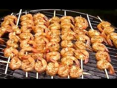 Making Shrimp Skewers / Kabobs / Kebabs on a Charcoal Grill with Old Bay...