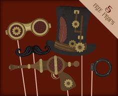 Free Steampunk Printable Props for Photo Booths. Steampunk party supplies, #Steampunk wedding freebie!