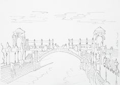Vienna River Portal In Stadtpark, Vienna - Hand Drawing