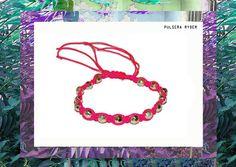 piedras doradas+fucsia//pink+ gold stones+square knot  www.tiendacheca.com
