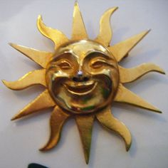 Gold Smiling Sun Brooch or Pin From Alba Museum by parkledge, $22.00