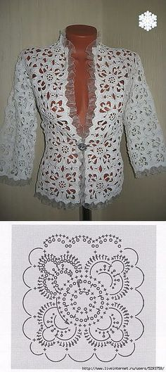 """ШИКАРНЫЙ ЖАКЕТ ИЗ МОТИВОВ. [   """"Dress crochet from motifs."""",   """"Find and save knitting and crochet schemas, simple recipes, and other ideas collected with love."""" ] #<br/> # #Jackets,<br/> # #Cardigans,<br/> # #Short #Sleeves,<br/> # #Chic,<br/> # #Shorts,<br/> # #Green,<br/> # #Knitting,<br/> # #Dresses,<br/> # #Boleros<br/>"""