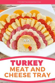 Do you want a Thanksgiving appetizer idea that will be the talk of the table? This cute Turkey Meat and Cheese Tray will do just that. Load up this meat and cheese turkey platter with your favorite meats and cheeses to create this impressive little guy. He'll be gobbled up in no time! #thanksgivingrecipes #thanksgivingsidedishes #meatandcheeseboard #meatandcheesetrayideas
