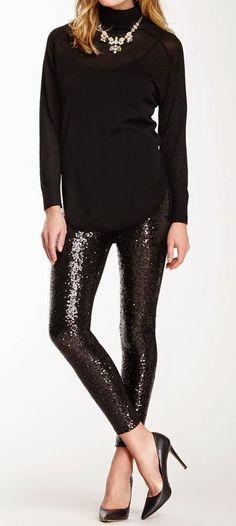 Total Stardom Sequin Panel Leggings - Black RESTOCKED