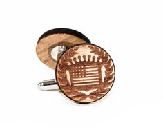 Americana Wood Cufflinks -Round Wooden US Flag Shield Cuff Link Groomsmen Gift, Veteran's Day, Father's Day, Stocking Stuffer, Men's Gift on Etsy, $20.00
