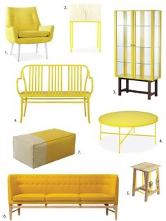 """Bold Gold: Yellow Furniture That Works"" , featuring the IKEA STOCKHOLM glass cabinet, @ApartmentTherapy.com"