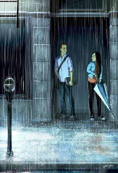 yaoyao ma van as illustration Art And Illustration, Website Illustration, Love Cartoon Couple, Art Mignon, Couple Drawings, Couple Art, Couple In Rain, Anime Scenery, Love Art