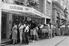 queue in front of the only Adidas store in Hungary (in Váci street) in the socialist era. queuing was a basic experience of the socialist economy