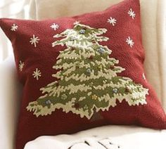 Christmas Tree Crewel Embroidered Cushion Cover