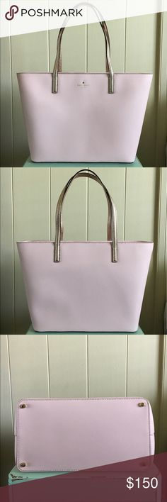 """💖KS Gallery Drive Small Harmony Tote💖 Kate Spade Gallery Drive Small Harmony tote in bon bon pink and rose gold. Excellent used condition. Shoulder bag with zip top closure. Interior zip and double slide pockets. Measures approximately 9.9"""" H x 11.9"""" W x 6.2"""" D. No holds or trades please. kate spade Bags"""