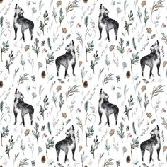 Wolf Fabric by the Yard. Woodland Fabric, Watercolor Wolves, Animals, Gray Wolf, Tribal, Southwest. Quilting Cotton, Knit, Jersey or Minky Watercolor Wolf, Woodland Fabric, Cute Baby Animals, Wild Animals, Kona Cotton, Animal Photography, Wildlife Photography, Gray Wolf, Wolf Black