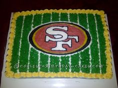 My daughter is a huge football fan, and since her birthday was so close to the Super Bowl, she went with the theme. The cake is a double- Adult Birthday Cakes, Cool Birthday Cakes, Birthday Ideas, 2nd Birthday, Happy Birthday Football, 49ers Cake, Harley Davidson Cake, Cake Story, Tooth Cake