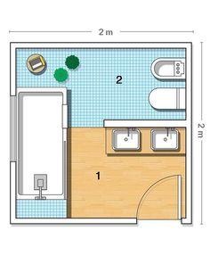 Un baño con zonas separadas