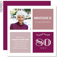 belle Typo pour vos 80 ans et inviter de la plus élégante des mainières anniversaire