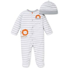 Le Top Baby Boys Amazing Animals Circus Lion French Terry Coveralls One-Piece