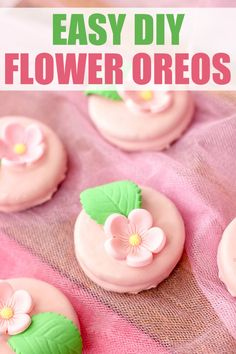 These Easy Flower OREO Cookies are perfect for Spring or Mother's Day.   Easy enough for anyone to make - including kids. These DIY cookies would make for a great craft or gift for Mom - or add them to your dessert menu!  #dessert #oreos #oreocookies #oreo #flowers #diy #mothersday #crafty