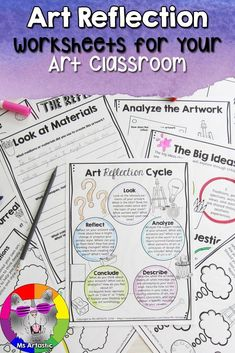 The Art Reflection worksheets unit comes with information about how to reflect on your own art, the big ideas behind art reflection, an art reflection cycle, an art movement web search page, and more than 15 graphic organizers with reflective questions Back To School Art, High School Art, School Art Projects, Projects For Kids, Look At You, As You Like, Teaching Art, Teaching Resources, School Resources