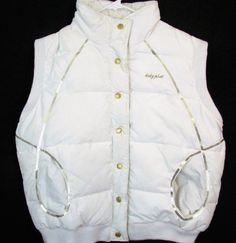 Baby Phat Size XXL 2XL White Gold Puffer Vest Snap Front Sleeveless Sequins Cat  | eBay