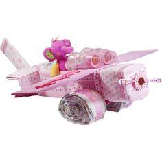 Avión de Pañales Niña - La mejor tarta de pañales del mercado, un avión único y espectacular de grandes dimensiones especial para regalar al recién nacido y a sus papis único y original avion de pañales en color rosa