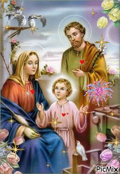 the Holy Family, bless our families. Joseph pray for us. Catholic Art, Catholic Saints, Religious Art, Religious Icons, Jesus Mary And Joseph, St Joseph, Religious Pictures, Jesus Pictures, Jesus E Maria