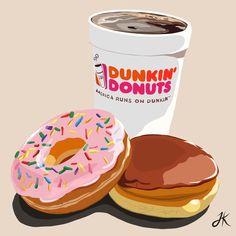 Illustration Artists, Digital Illustration, Illustrations, Dunkin Donuts Coffee, Adobe Illustrator, Artworks, Kit, Snacks, Create