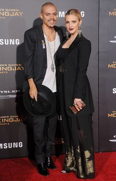 Evan Ross and Ashlee Simpson at the Los Angeles premiere of The Hunger Games: Mockingjay – Part 2.