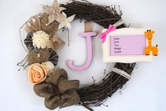 New Baby birth stats giraffe frame adornment on rustic burlap Interchangeable wreath with hanging monogram, door or wall hanging